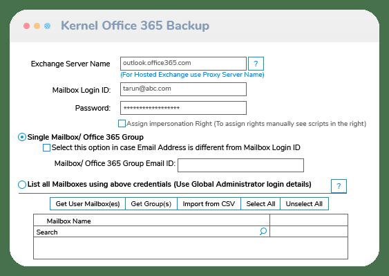 Kernel Office 365 Backup