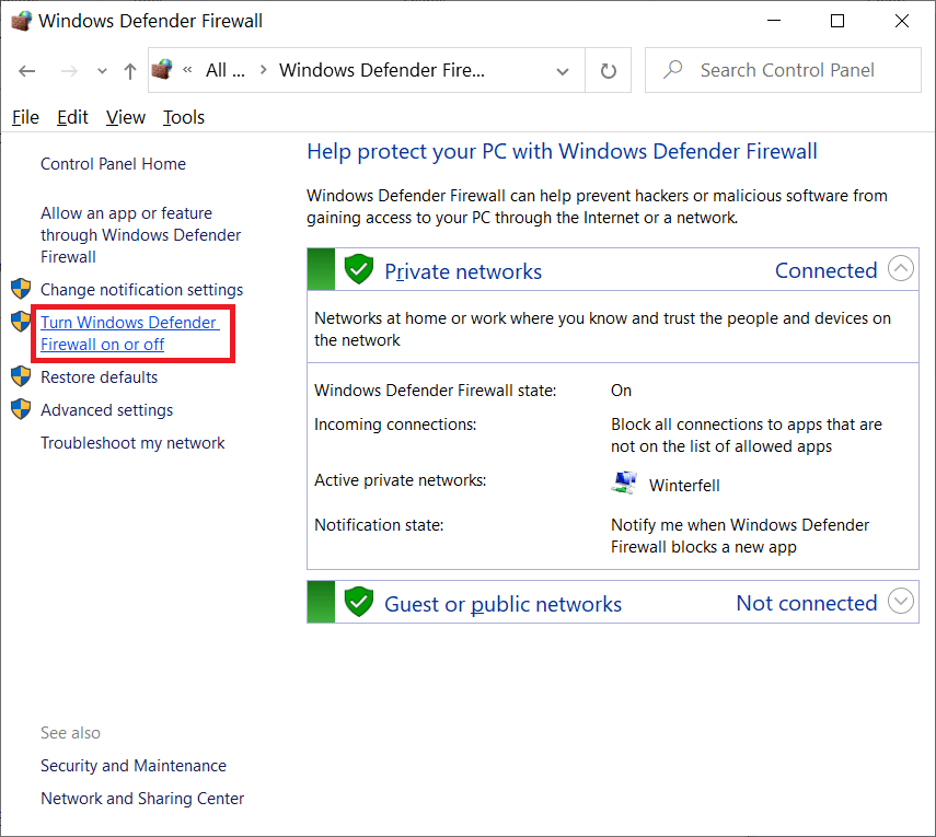 Turn Windows Defender Firewall on and off