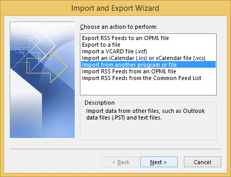 import data from ANSI PST