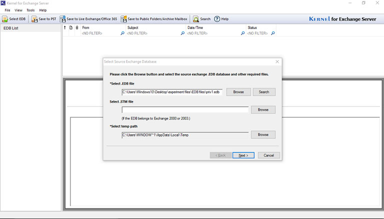 Specify the drive and select the required EDB File