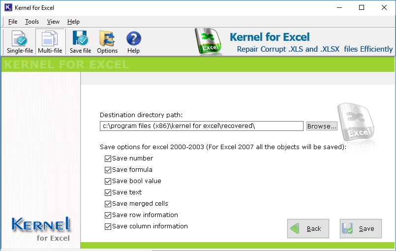 Retrieve numbers, text, merged cell, row information and column information in Multi-File Excel recovery.