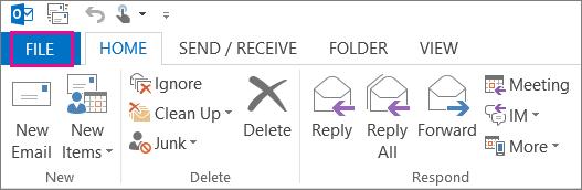 Select file menu in Outlook