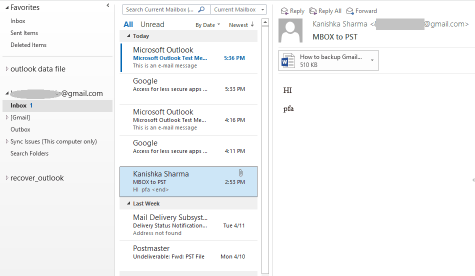 Emails of your Gmail account will appear in Outlook