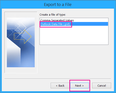 Choose Outlook Data File (.pst)