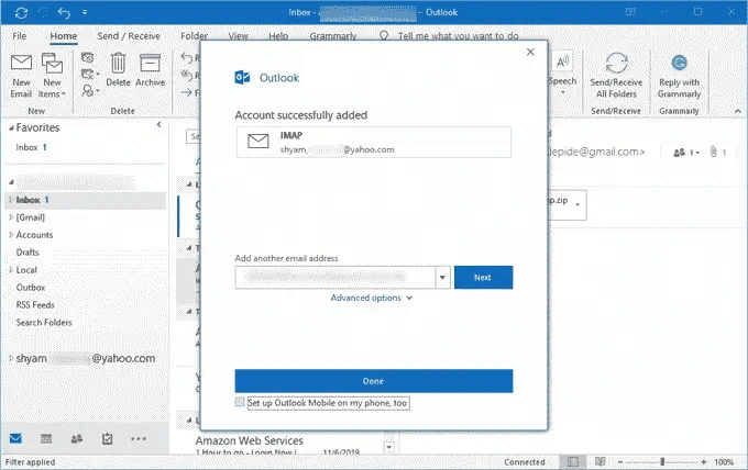 start working on your Yahoo account in Outlook