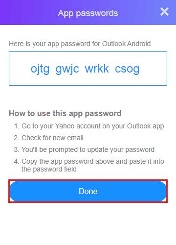 Copy the password