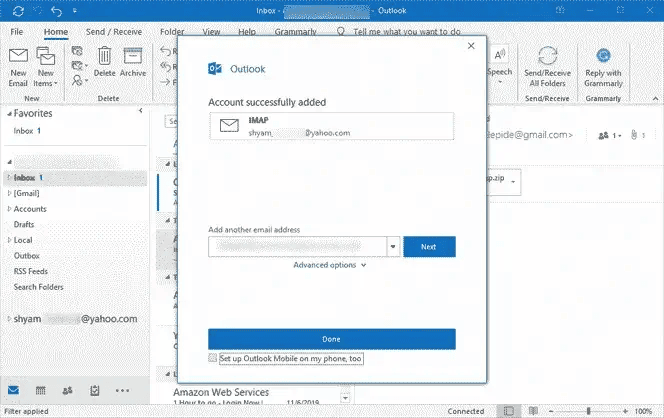 Yahoo account configured in Outlook successfully