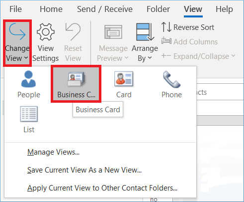 choose the Business card option