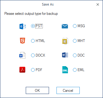 Select the specific file format for backup
