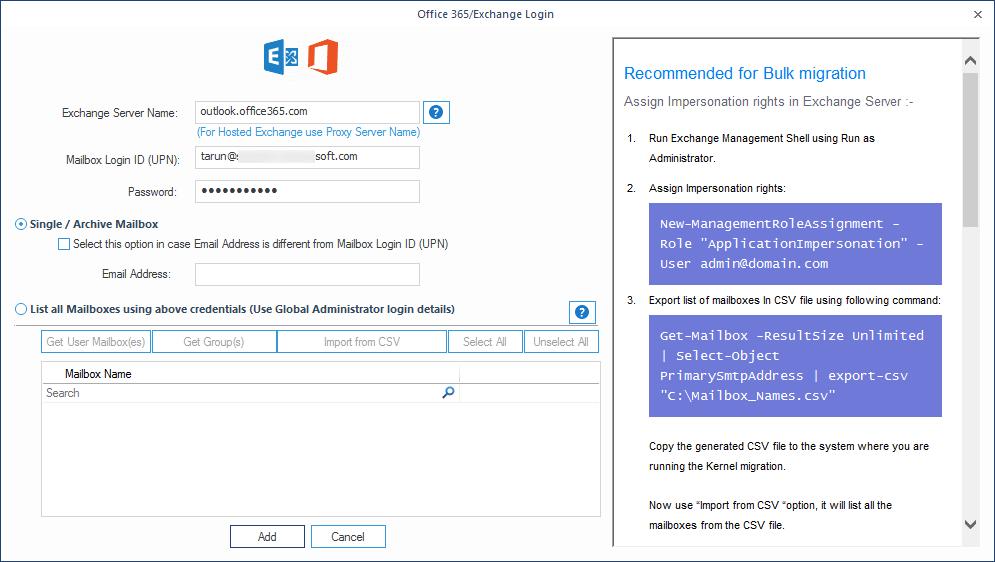 Input Office 365 account