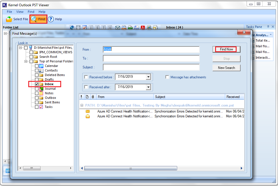 Search PST Files with the Indexing Options in Outlook
