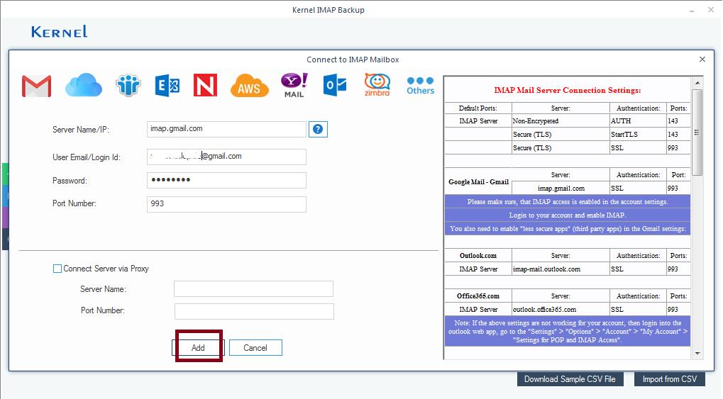 Enter email client details