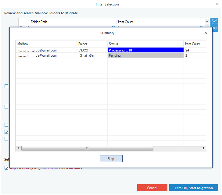 Backup Gmail process start, wait for it to finish