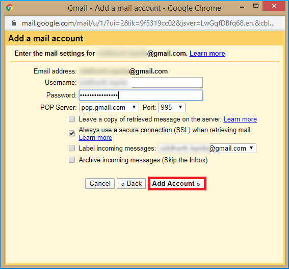 Enter the Gmail acount password