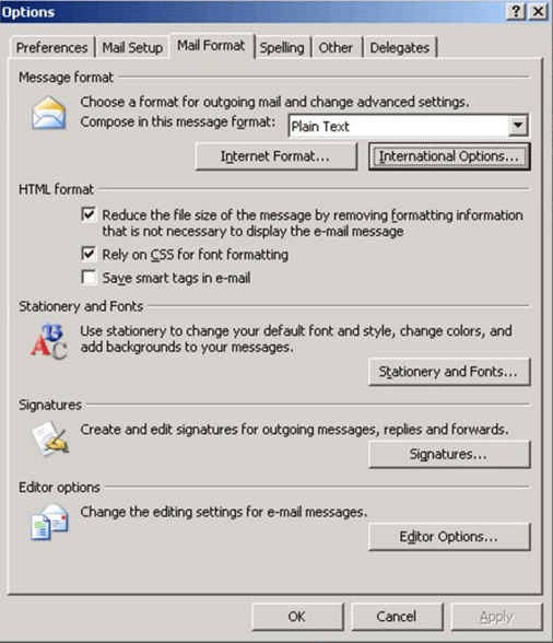 Message format settings