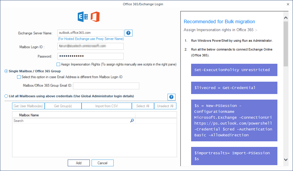Add Office 365 credentials