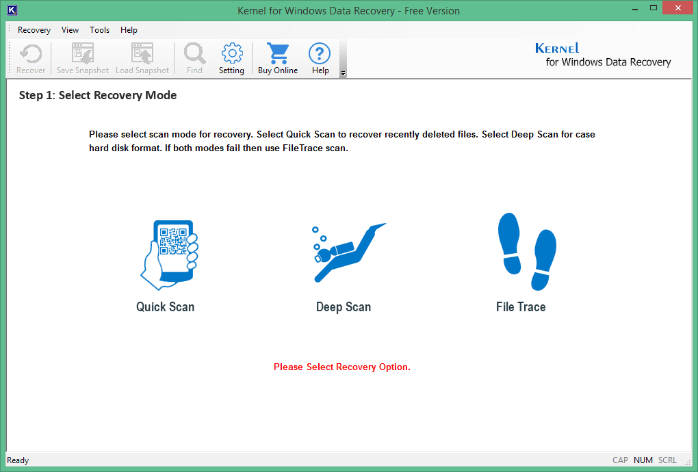 Select scan mode for recovery