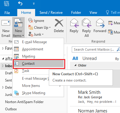 How to create a business card in microsoft outlook select the contact option to create a business card reheart Choice Image