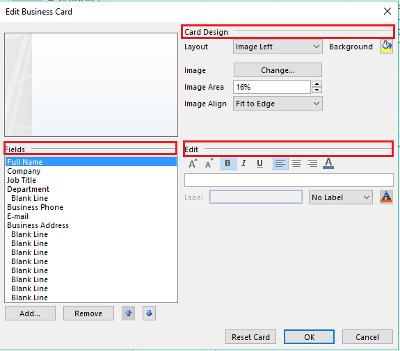 How to create a business card in microsoft outlook edit business card box option reheart Choice Image