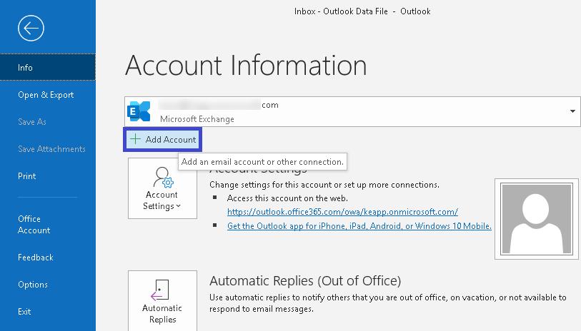 +Add Account option