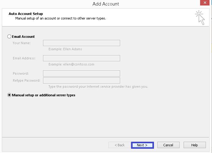select Manual setup