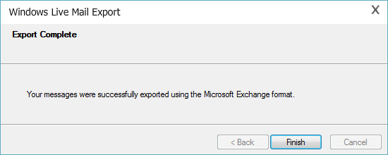 EML to PST conversion process completion message