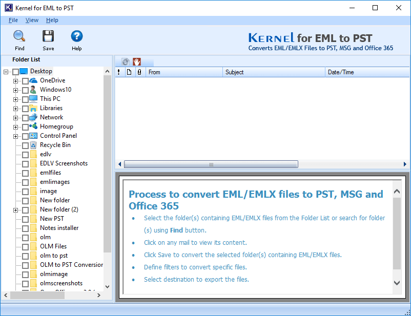 EML to PST converter tool home screen