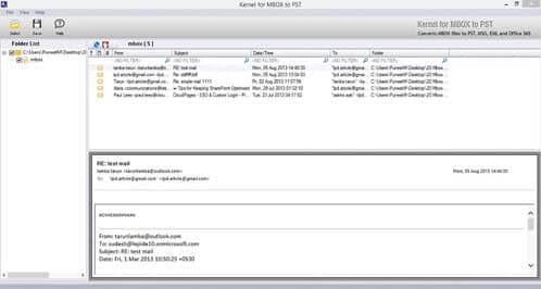 Screenshot of selected Apple Mail MBOX files