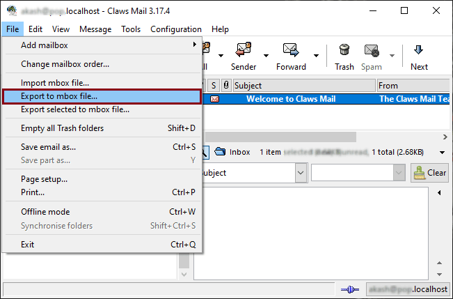 click on Export to mbox file