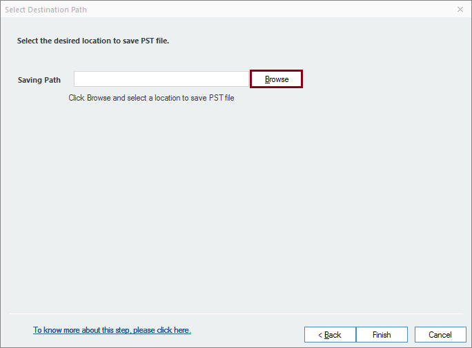 Select location to save PST file