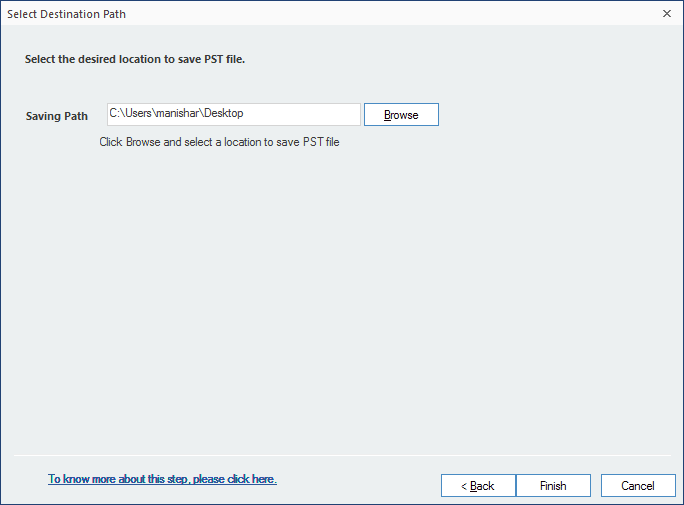 Provide a destination to save converted file