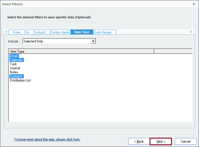 Apply filter option for selected files to convert