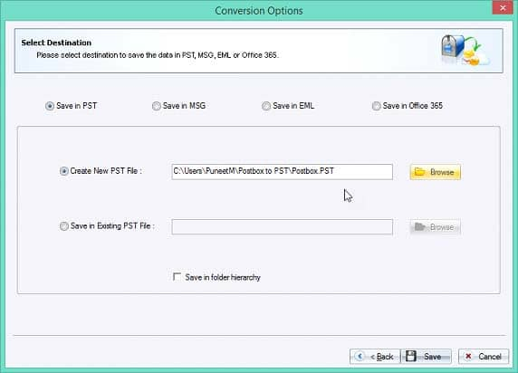 Select 'Create New PST File' option