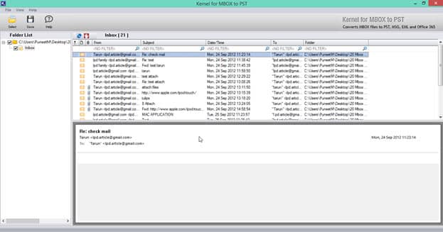 Screenshot of selected SeaMonkey MBOX files