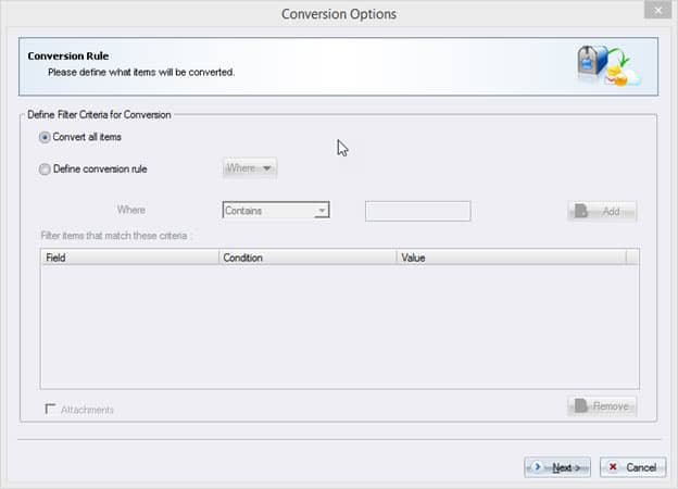 Conversion options