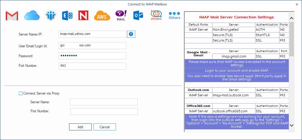 add the Yahoo mail account