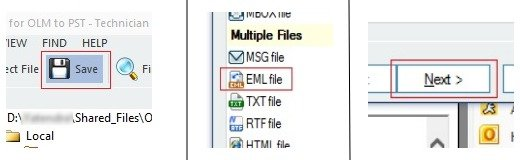 Select EML file option to save