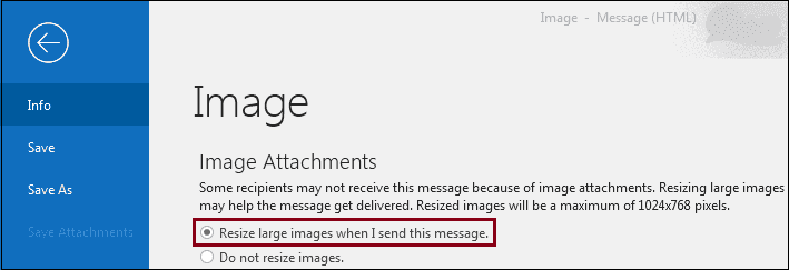 Select large image to resize