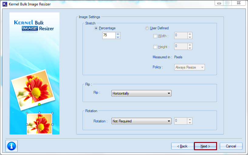 Specify the image settings