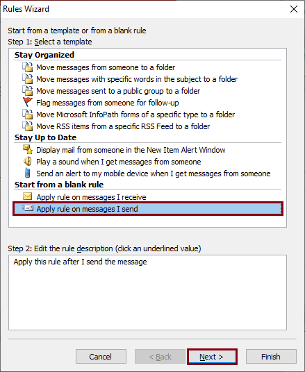 Apply rule on messages