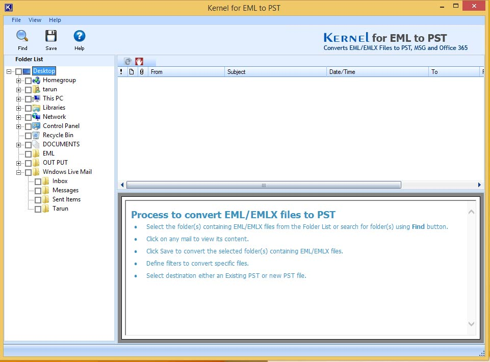 Launch EML to PST converter software