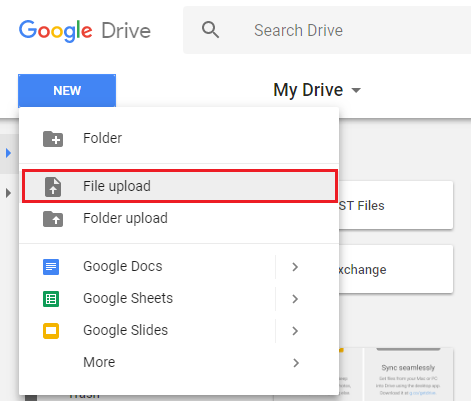 Select either File Upload or Folder Upload