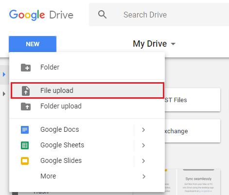 Select either File Upload or Folder Upload