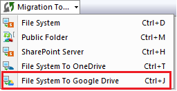 Select File System to Google Drive