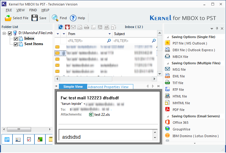 Previewing MBOX mailboxes in Outlook migration tool