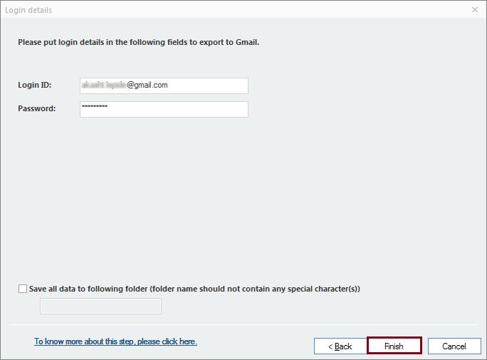 Providing Gmail account credentials