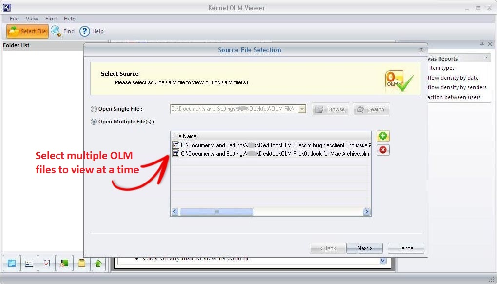 Slecting OLM files on OLM Viewer