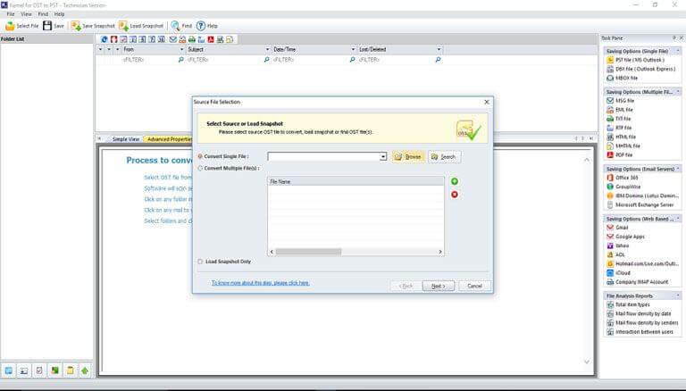 Kernel for OST to PST Converter full screenshot