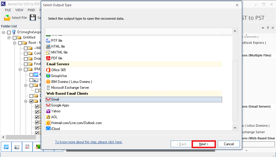 Confirm Gmail as the destination for importing the OST file