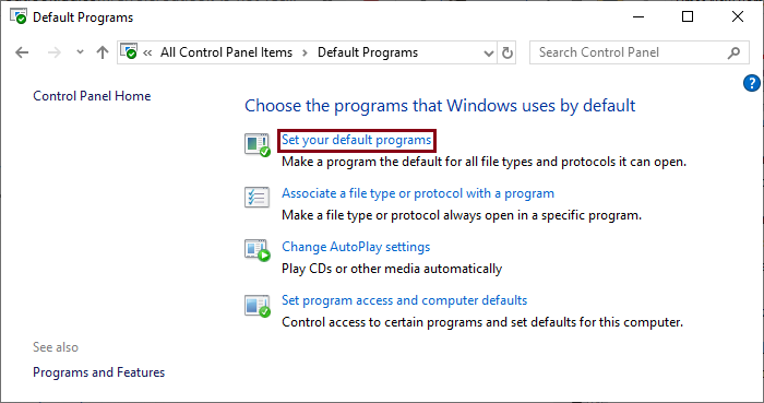 Click on the Set your default programs link